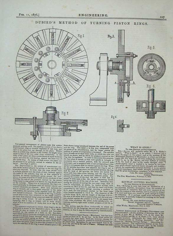 Print 1876 Engineering Dubied'S Method Turning Piston Rings 107D402 Old Original