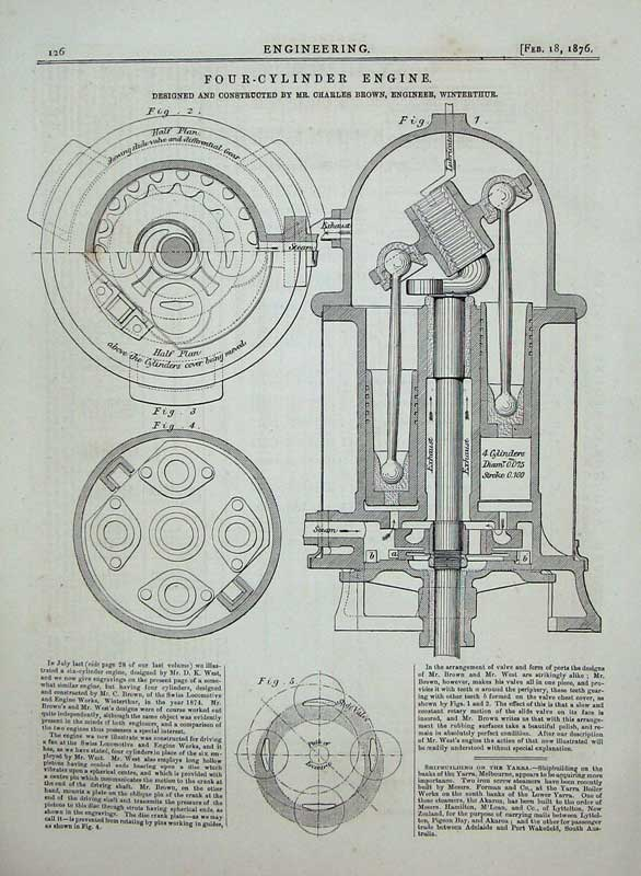 Print 1876 Engineering Four-Cylinder Engine Machinery Brown 126D402 Old Original