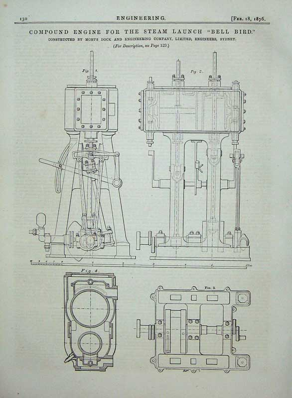 Print 1876 Engineering Compound Engine Steam Launch Bell Bird 130D402 Old Original