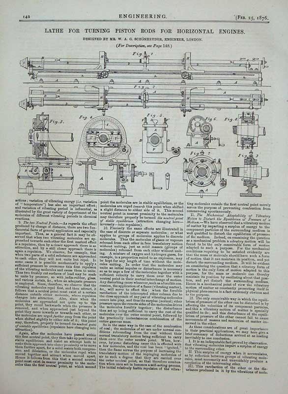 Print 1876 Engineering Lathe Piston Rods Horizontal Engines 142D402 Old Original