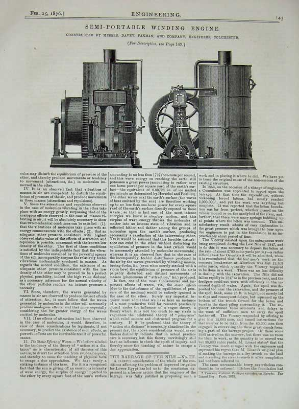 Print 1876 Engineering Semi-Portable Winding Engine Machinery 143D402 Old Original