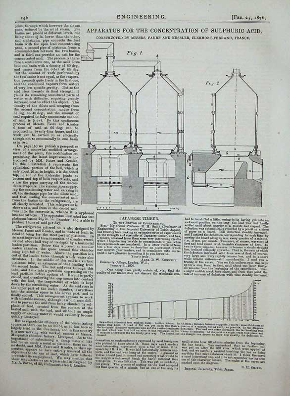 Print 1876 Engineering Apparatus Sulphuric Acid Kessler 146D402 Old Original