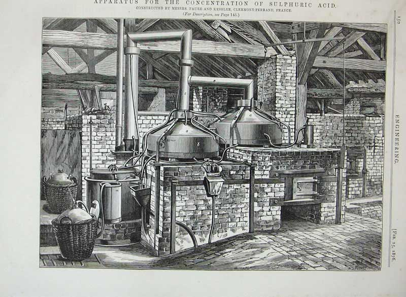 Print 1876 Apparatus Concentration Sulphuric Acid Engineering 150D402 Old Original