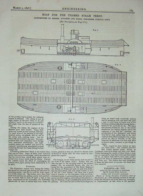Print 1876 Engineering Boat River Thames Steam Ferry Diagrams 165D402 Old Original