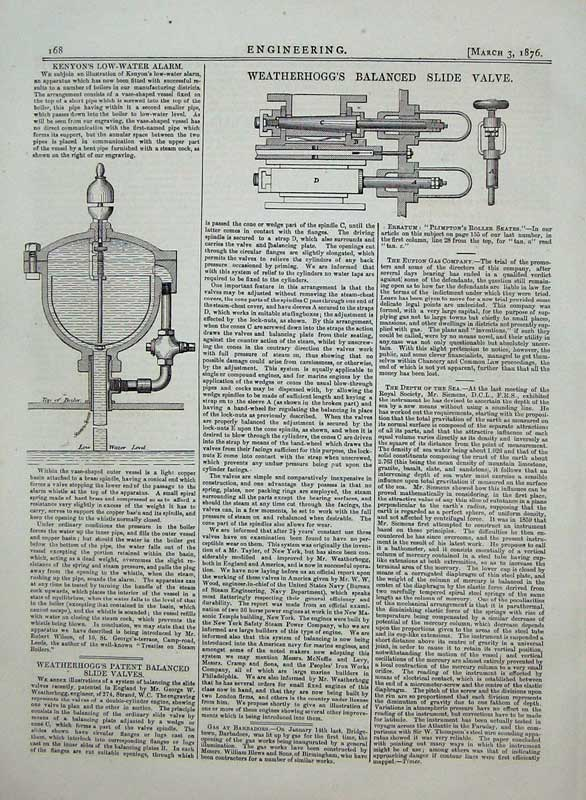 Print 1876 Engineering Weatherhogg'S Balanced Slide Valve 168D402 Old Original