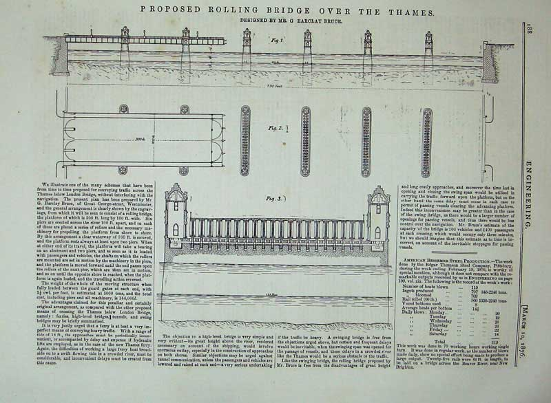 Print 1876 Proposed Rolling Bridge River Thames Engineering 188D402 Old Original