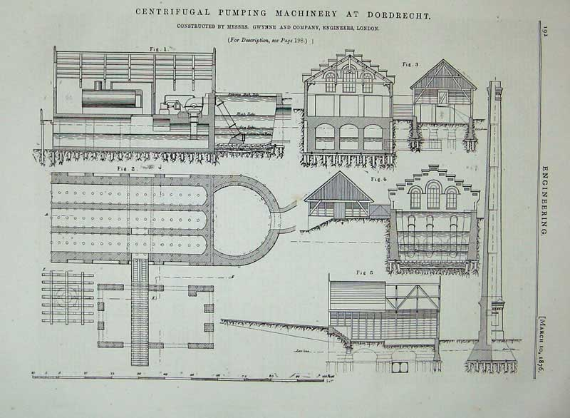 Print 1876 Centrifugal Pumping Machinery Dordrecht Diagrams 192D402 Old Original