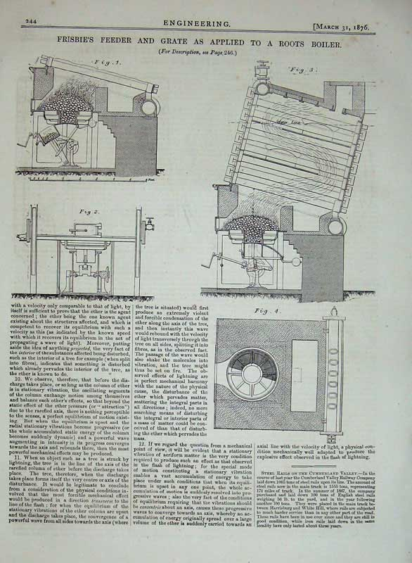 Print 1876 Engineering Frisbie Feeder Grate Roots Boiler 244D402 Old Original