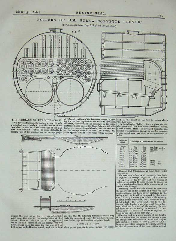 Print 1876 Engineering Boilers H.M Screw Corvette Rover Ship 245D402 Old Original