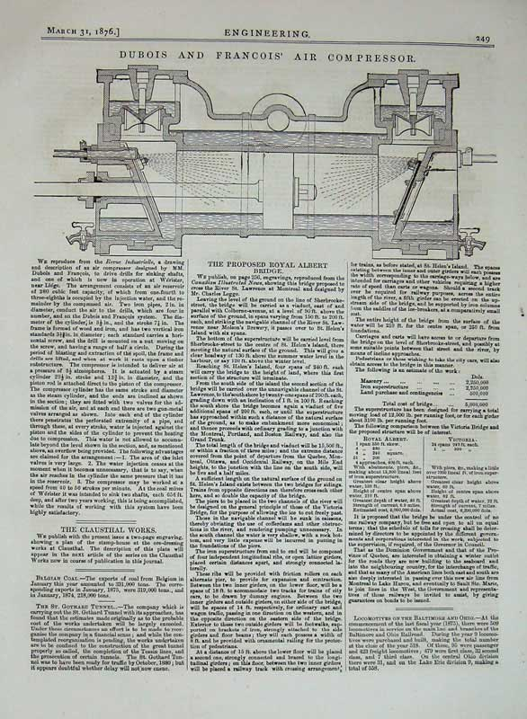 Print 1876 Engineering Dubois Francois Air Compressor Machine 249D402 Old Original