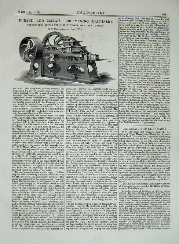 Print 1876 Engineering Durand Marais Brickmaking Machinery 261D402 Old Original