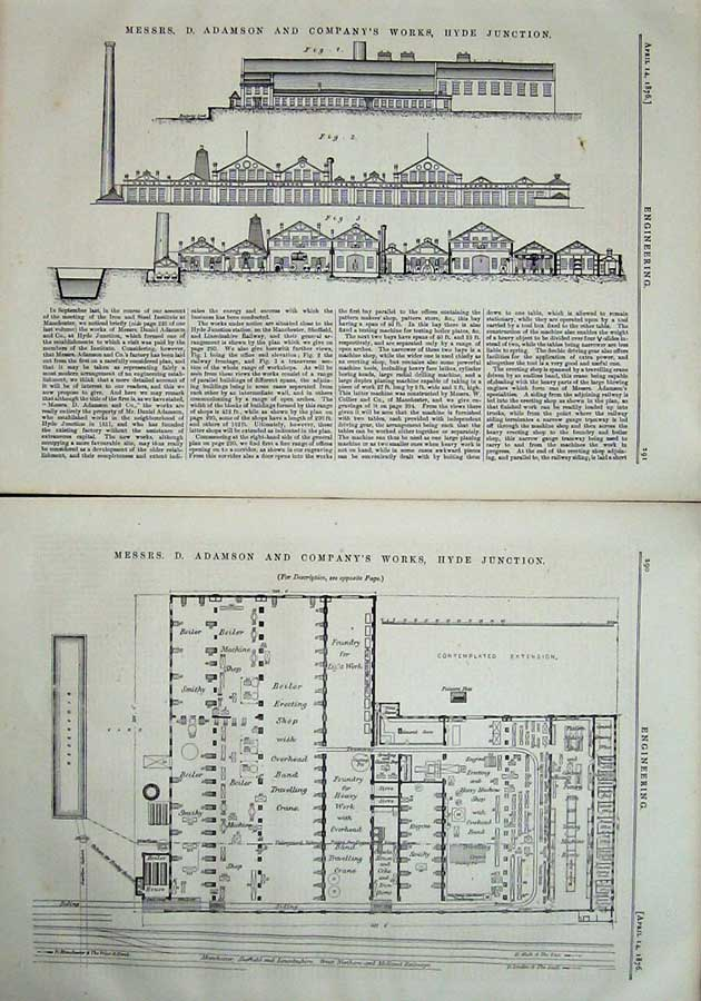 Print 1876 Engineering Plan Adamson Company Works Hyde 290Ad402 Old Original