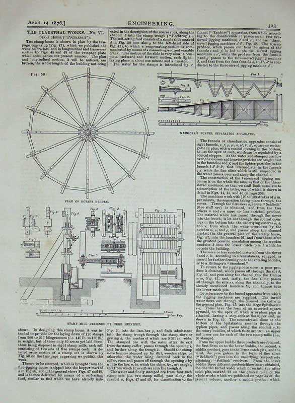 Print 1876 Engineering Clausthal Works Rotary Buddle Meinicke 303D402 Old Original