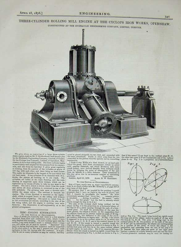 Print 1876 Engineering Rolling Mill Engine Cyclops Iron Works 341D402 Old Original