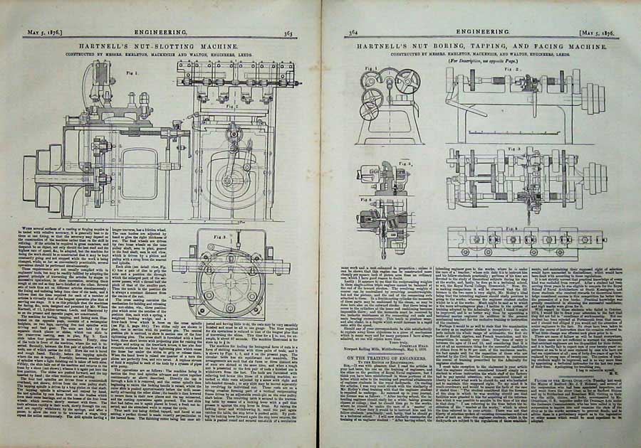 Print 1876 Engineering Hartnell Nut Boring Tapping Machine 364Ad402 Old Original