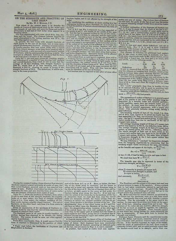 Print 1876 Engineering Strength Fracture Cast Iron Diagram 373D402 Old Original