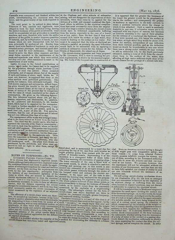 Print 1876 Engineering Diagram Circuit Closer Torpedo Drawing 404D402 Old Original