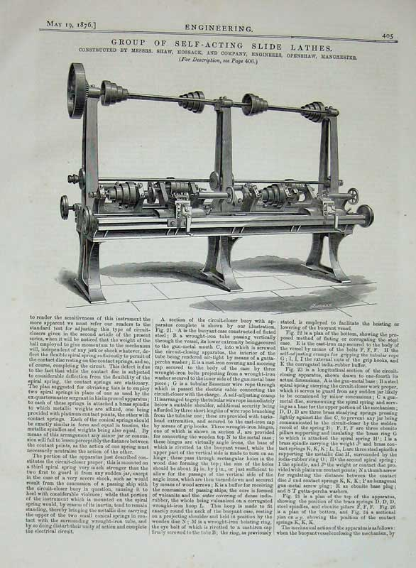 Print 1876 Engineering Self Acting Slide Lathes Machinery 405D402 Old Original
