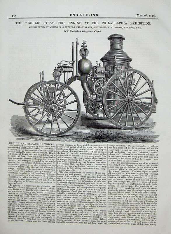 Print 1876 Philadelphia Exhibition Steam Fire Engine Engineer 432D402 Old Original