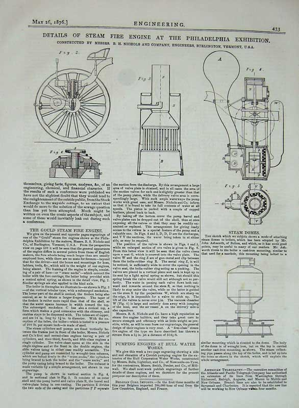 Print 1876 Philadelphia Exhibition Steam Fire Engine Diagrams 433D402 Old Original