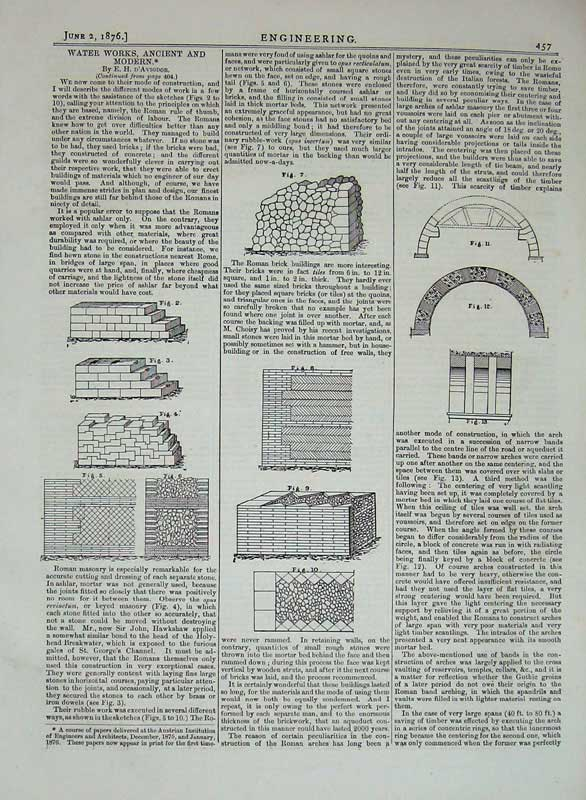 Print 1876 Engineering Water Works Ancient Modern Diagram 457D402 Old Original