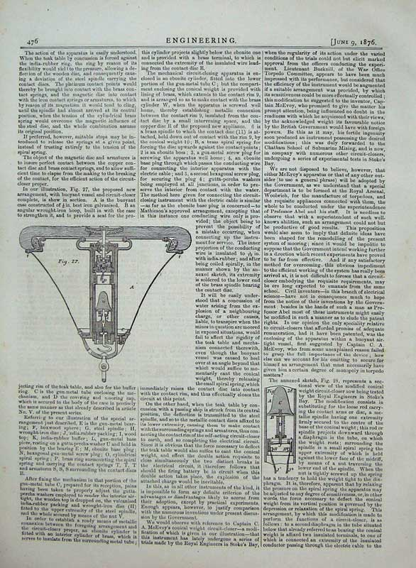 Print 1876 Engineering Diagrams Torpedoes Electrical Circuit 476D402 Old Original