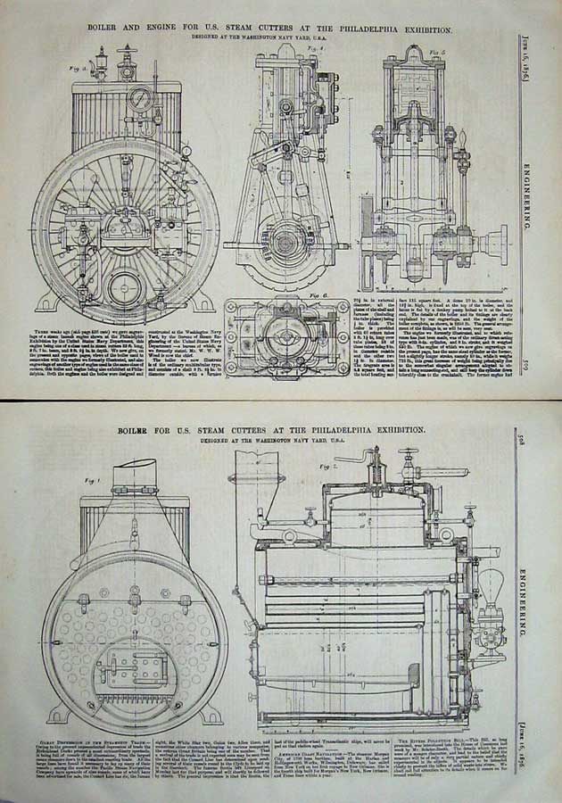 Print 1876 Engineering Boiler Steam Cutters Philadelphia 508Ad402 Old Original