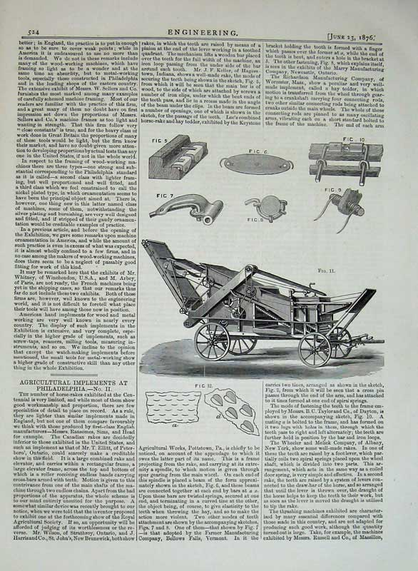 Print 1876 Engineering Agricultural Implements Philadelphia 524D402 Old Original
