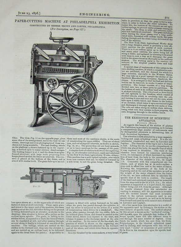 Print 1876 Philadelphia Exhibition Paper-Cutting Machinery 525D402 Old Original