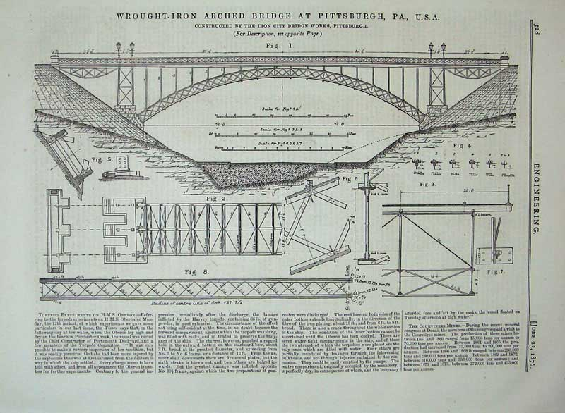 Print 1876 Wrought Iron Arched Bridge Pittsburgh Engineering 528D402 Old Original
