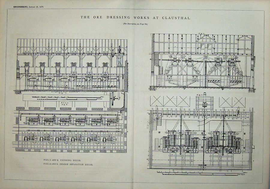 Print 1876 Ore Dressing Clausthal Diagrams Engineering Plan 804D402 Old Original