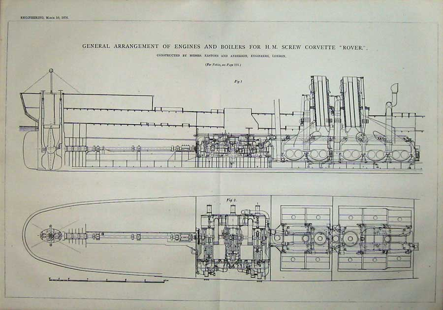 Print 1876 Diagram Engines Boilers H.M Corvette Ship Rover 811D402 Old Original