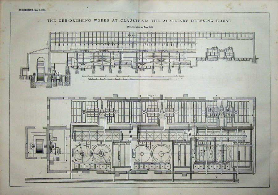 Print 1876 Ore-Dressing Clausthal Dressing House Engineering 818D402 Old Original