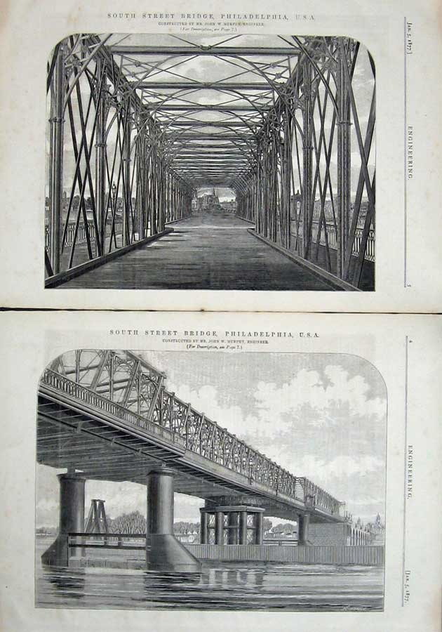 Print 1877 Engineering South Street Bridge Philadelphia Usa 004Ad403 Old Original