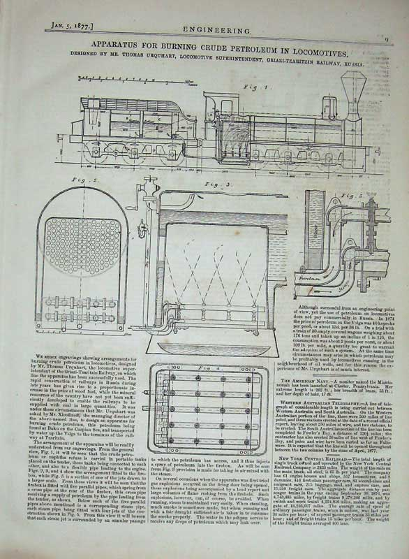Print 1877 Engineering Machine Burning Petroleum Trains 009D403 Old Original