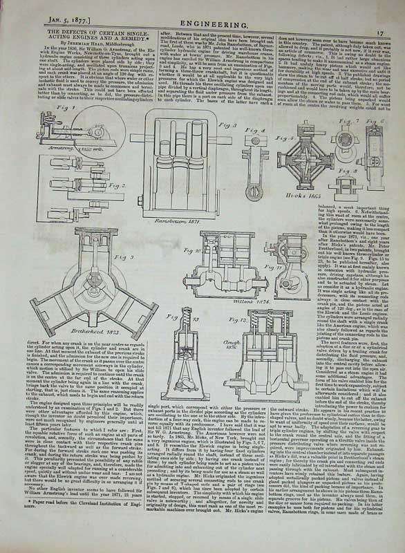 Print 1877 Engineering Single Acting Engines Machine Diagrams 017D403 Old Original