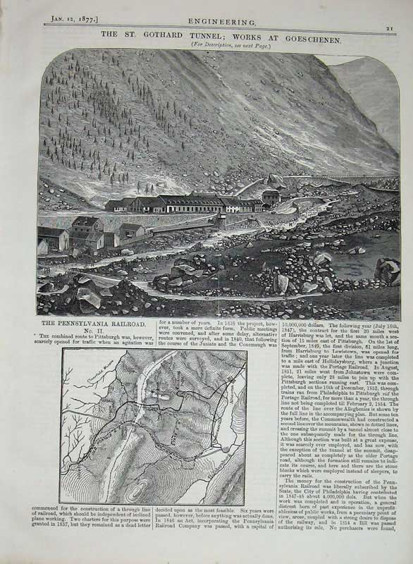 Print 1877 Gothard Tunnel Works Goeschenen Pennsylvania Rail 021D403 Old Original