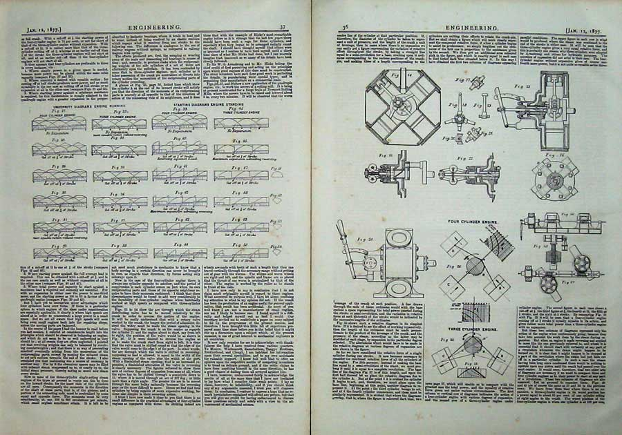 Print 1877 Engineering Four Cylinder Engine Engineering Plan 036Ad403 Old Original
