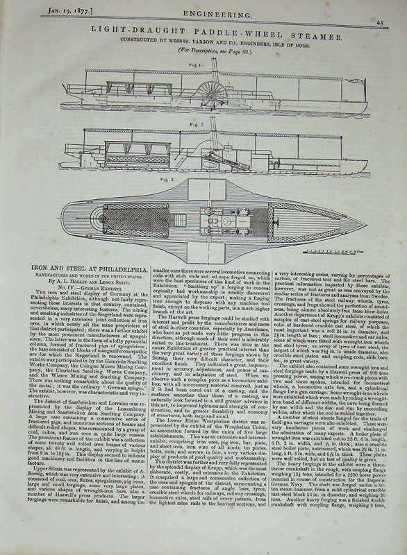 Print 1877 Engineering Light-Draught Paddle-Wheel Steamer 045D403 Old Original