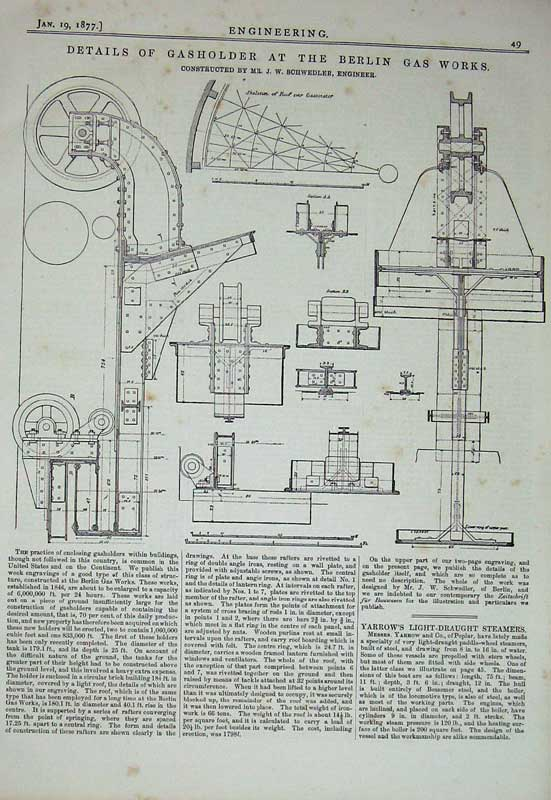 Print 1877 Engineering Gasholder Berlin Gas Works Diagrams 049D403 Old Original