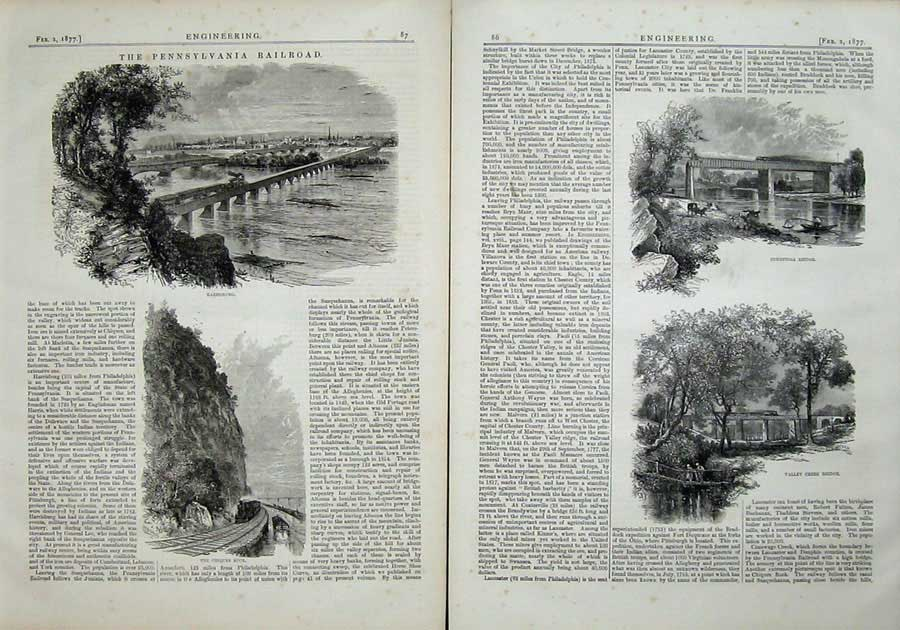 Print 1877 Engineering Conestoga Bridge Creek Harrisburg Rock 086Ad403 Old Original