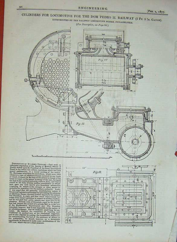 Print 1877 Engineering Cylinders Locomotive Train Railway Dom 090D403 Old Original