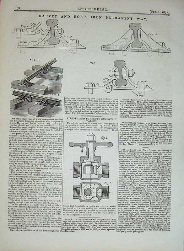 Print 1877 Engineering Harvey Roe'S Iron Permanent Way Train 098D403 Old Original