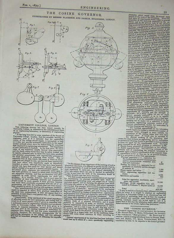 Print 1877 Engineering Diagrams Cosine Governor Darkin 099D403 Old Original