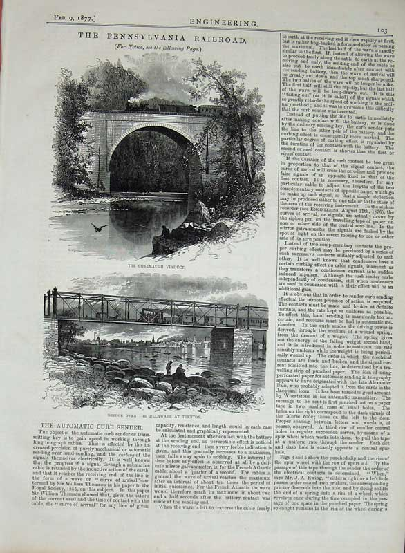 Print 1877 Engineering Pennsylvania Railway Bridge Delaware 103D403 Old Original