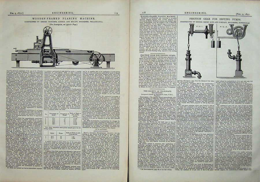 Print 1877 Engineering Friction Gear Driving Pumps Planing 118Ad403 Old Original