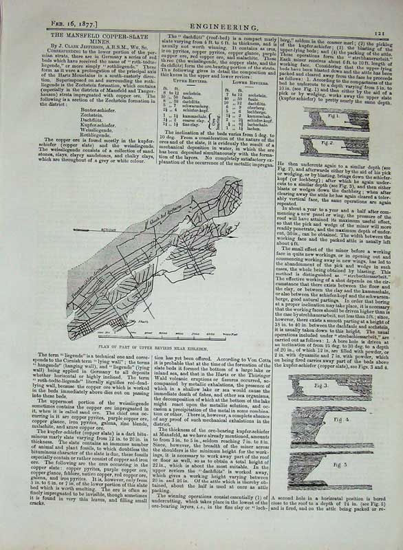 Print 1877 Engineering Plan Reviers Eisleben Copper-Slate 121D403 Old Original