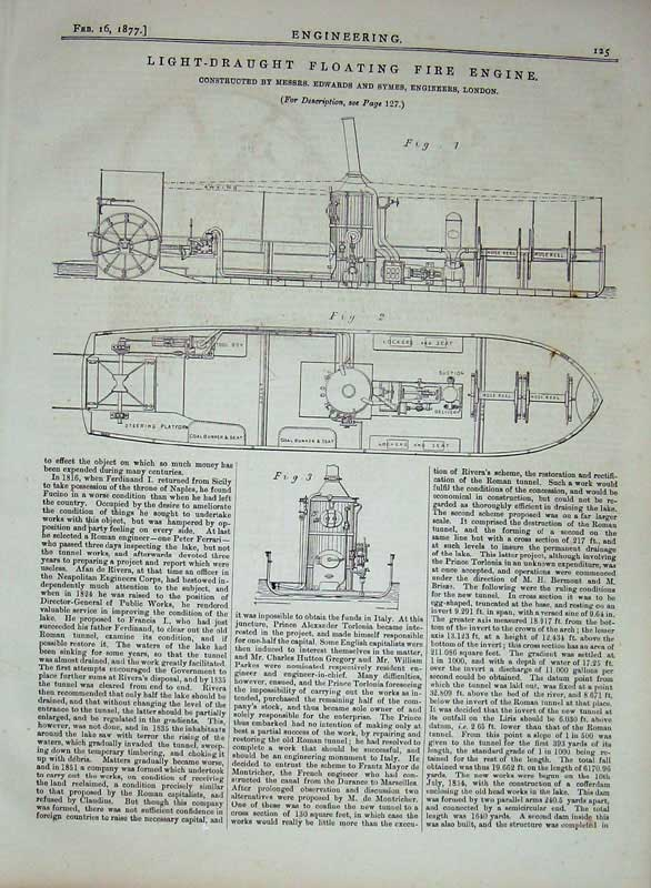 Print 1877 Engineering Light-Draught Floating Fire Engine 125D403 Old Original