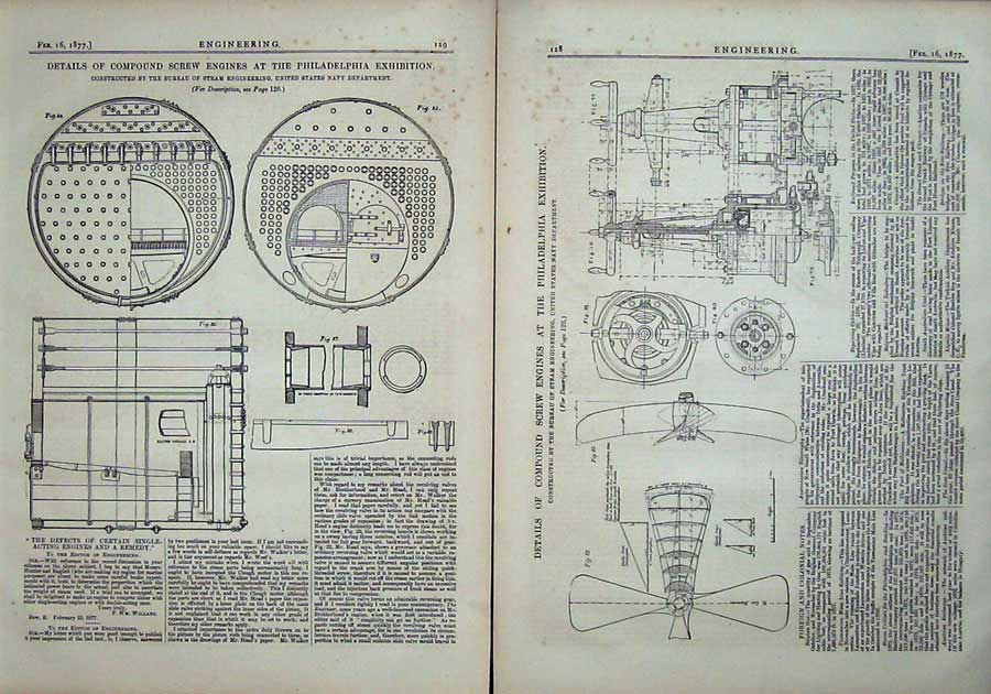 Print 1877 Compound Screw Engines Philadelphia Engineering 128Ad403 Old Original