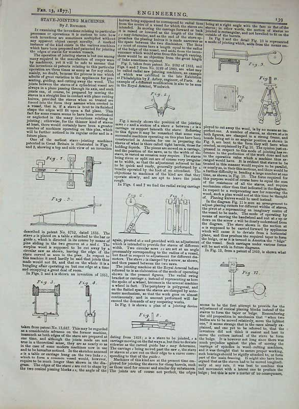 Print 1877 Engineering Stave-Jointing Machines Diagrams 139D403 Old Original